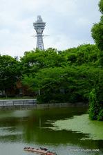 通天閣を望む:慶沢園;クリックすると大きな写真になります。