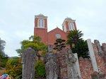 黒こげになった聖ヨゼフ像などが残されている浦上教会正面:クリックすると大きな写真になります