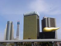 建設中の東京スカイツリーと金の泡;クリックすると大きな写真になります